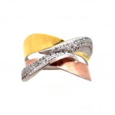 Δαχτυλίδι 9,25 τρίχρωμο με ζιργκόν  ΚΟΣΜΗΜΑΤΑ