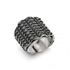 Ασημένιο δαχτυλίδι ανοιχτό με μπιλάκια
