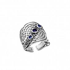 Ασημένιο δαχτυλίδι ανοιχτό σε σχήμα πλέγμα
