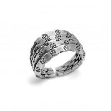 Ασημένιο δαχτυλίδι βέρα με λουλούδια