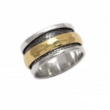 Ασημένιο δαχτυλίδι βέρα σφυρήλατη δίχρωμη