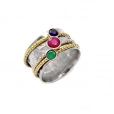 Ασημένιο δαχτυλίδι βέρα σφυρήλατη με πολύχρωμα κρύσταλλα
