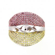 Ασημένιο δαχτυλίδι με ζιργκόν τρίχρωμο ΚΟΣΜΗΜΑΤΑ