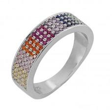 Δαχτυλίδι ασημένιο βέρα με πολύχρωμα ζιργκόν