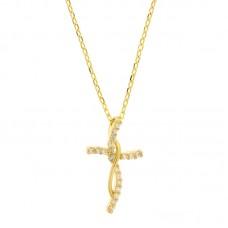 Κολιέ ασημένιο σταυρός με ζιργκόν ΚΟΣΜΗΜΑΤΑ