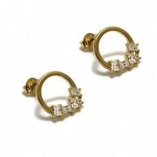 Σκουλαρίκια ασημένια κύκλος χρυσά