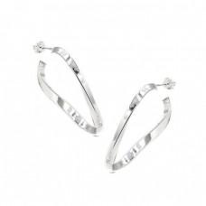 Ασημένια σκουλαρίκια κρίκοι σε σχήμα στριφτό