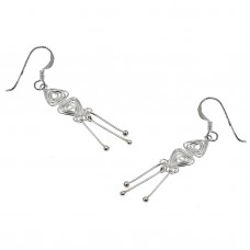 Ασημένια σκουλαρίκια με γαντζάκι μακριά