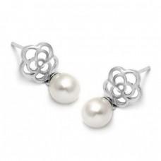 Σκουλαρίκια ασημένια με μαργαριτάρι