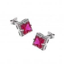 Ασημένια σκουλαρίκια τετράγωνη ροζέτα