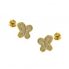 Καρφωτά ασημένια σκουλαρίκια επίχρυσα πεταλούδα