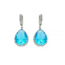 Ασημένια σκουλαρίκια κρεμαστά aquamarine