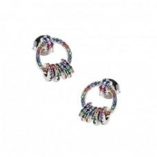 Σκουλαρίκια ασημένια κρίκος με ζιργκόν