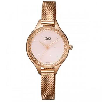 Γυναικείο ρολόι σε ρόζ χρυσό με κρύσταλλα